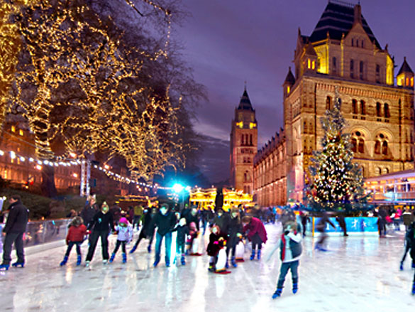 Festive ice rink at the Natural History Museum