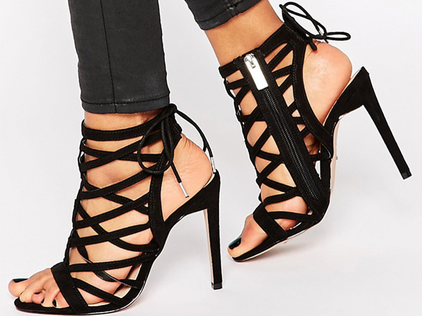 Carvela Black Heeled Caged Shoes
