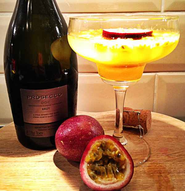 Passionfruit Prosecco cocktail