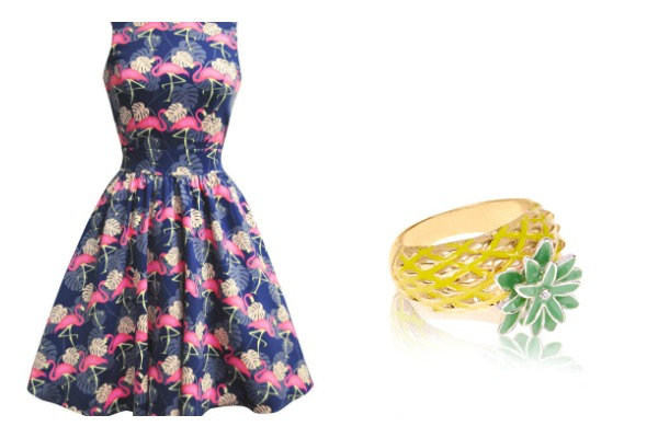 Flamingo dress pineapple ring