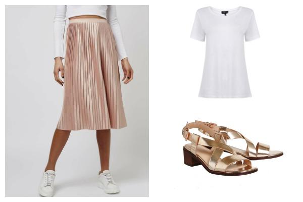 Dressed up casual midi skirt look