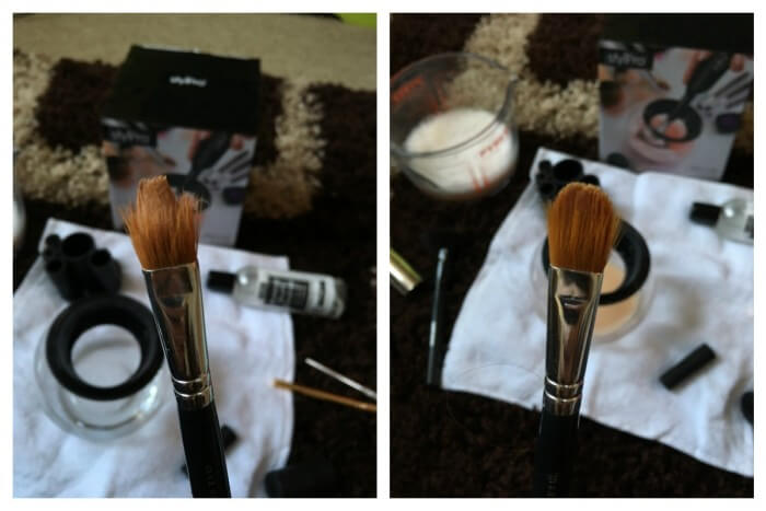 Concealer brush before and after